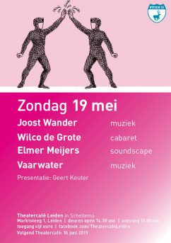 Flyer TheaterCafe zondag 19 mei in Scheltema Leiden