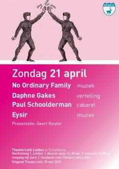 Flyer Theatercafe Leiden op zondag 21 april in Scheltema Leiden