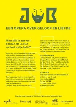 Achterkant flyer Opera Job in Scheltema Leiden