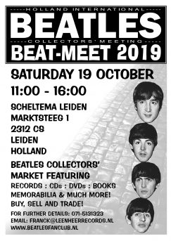BEAT-MEAT Beatles Beurs in Scheltema Leiden op 19 oktober 2019