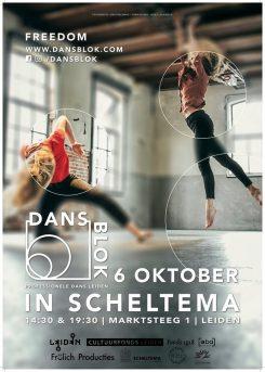 Dansblok poster: Dansblok wordt gehouden in Scheltema Leiden op oktober 2019