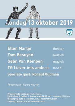 Theater Cafe flyer oktober 2019 in Scheltema Leiden