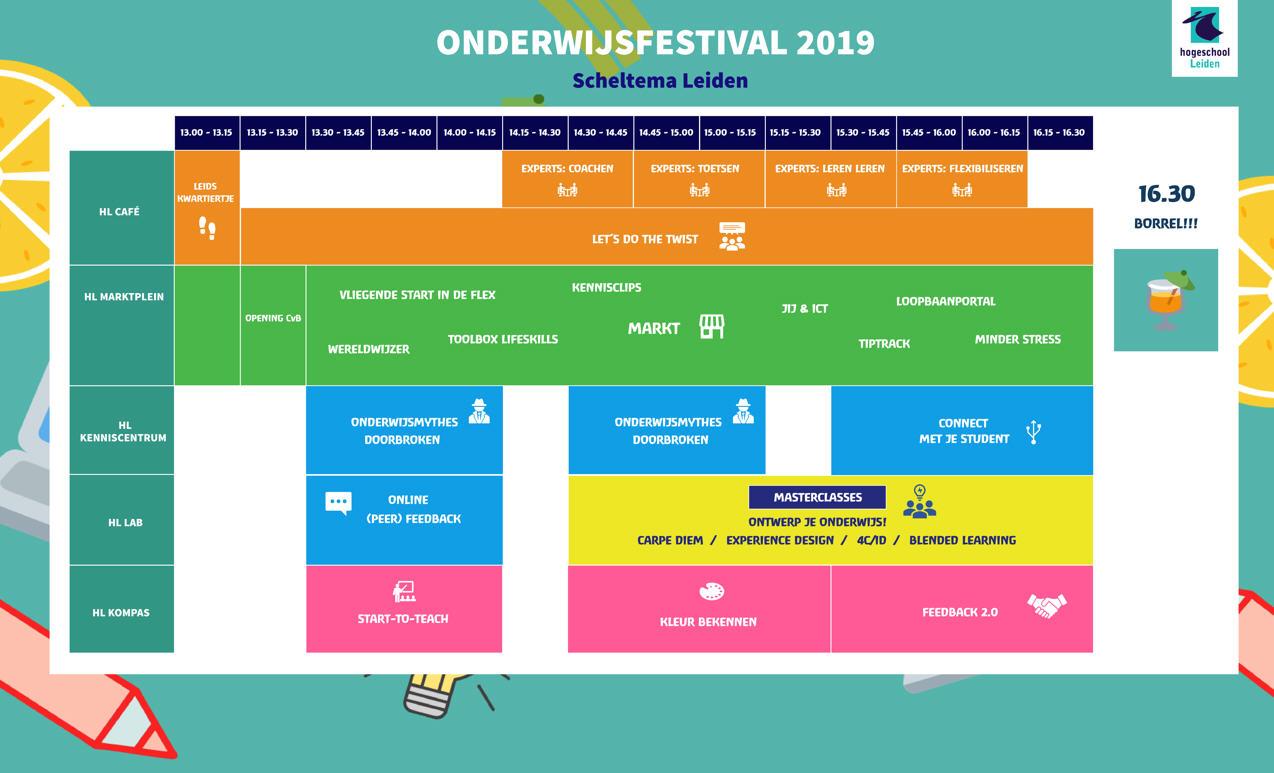 Blokkenschema Onderwijsfestival 2019 op donderdag 14 november in Scheltema Leiden