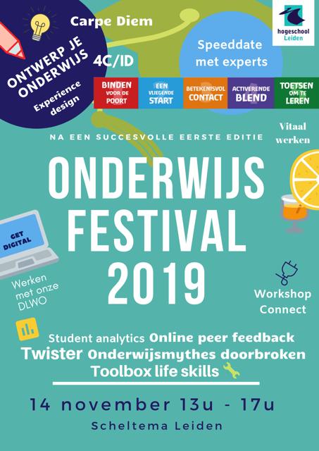 Flyer Onderwijsfestival 2019 op donderdag 14 november in Scheltema Leiden