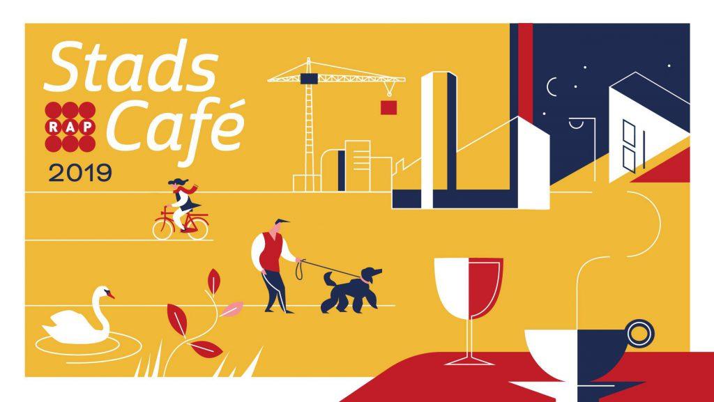 Flyer van RAP Leiden: Stadscafe #12: Een Stad in Beweging op 30 oktober 2019 in Scheltema Leiden