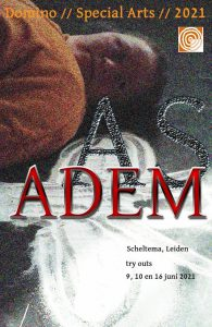 As & Adem affiche van Theatergroep Domino in Scheltema Leiden